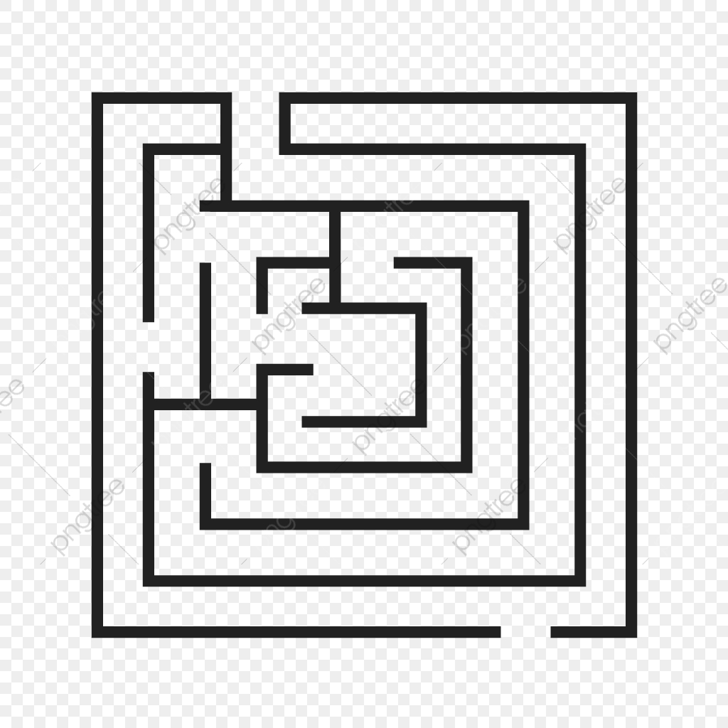 Maze Line Black Icon Maze Puzzle Line Png And Vector With