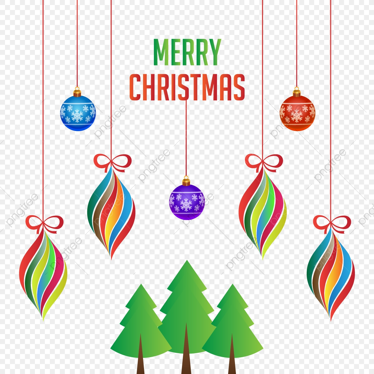 Colorful Christmas Tree Vector.Merry Christmas Colorful Hanging Decoration With Xmas Tree