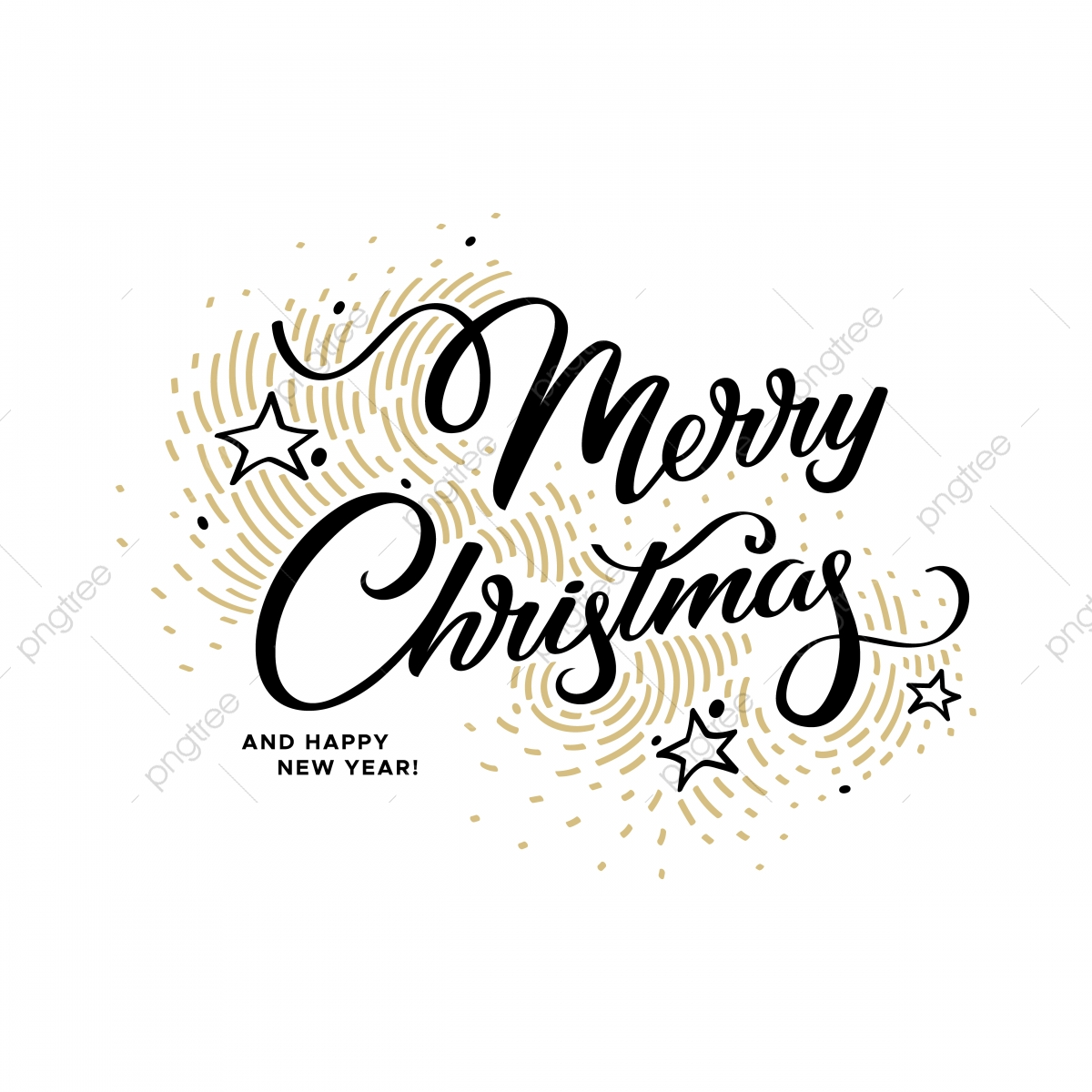 Merry Christmas Lettering On A White Background With Golden