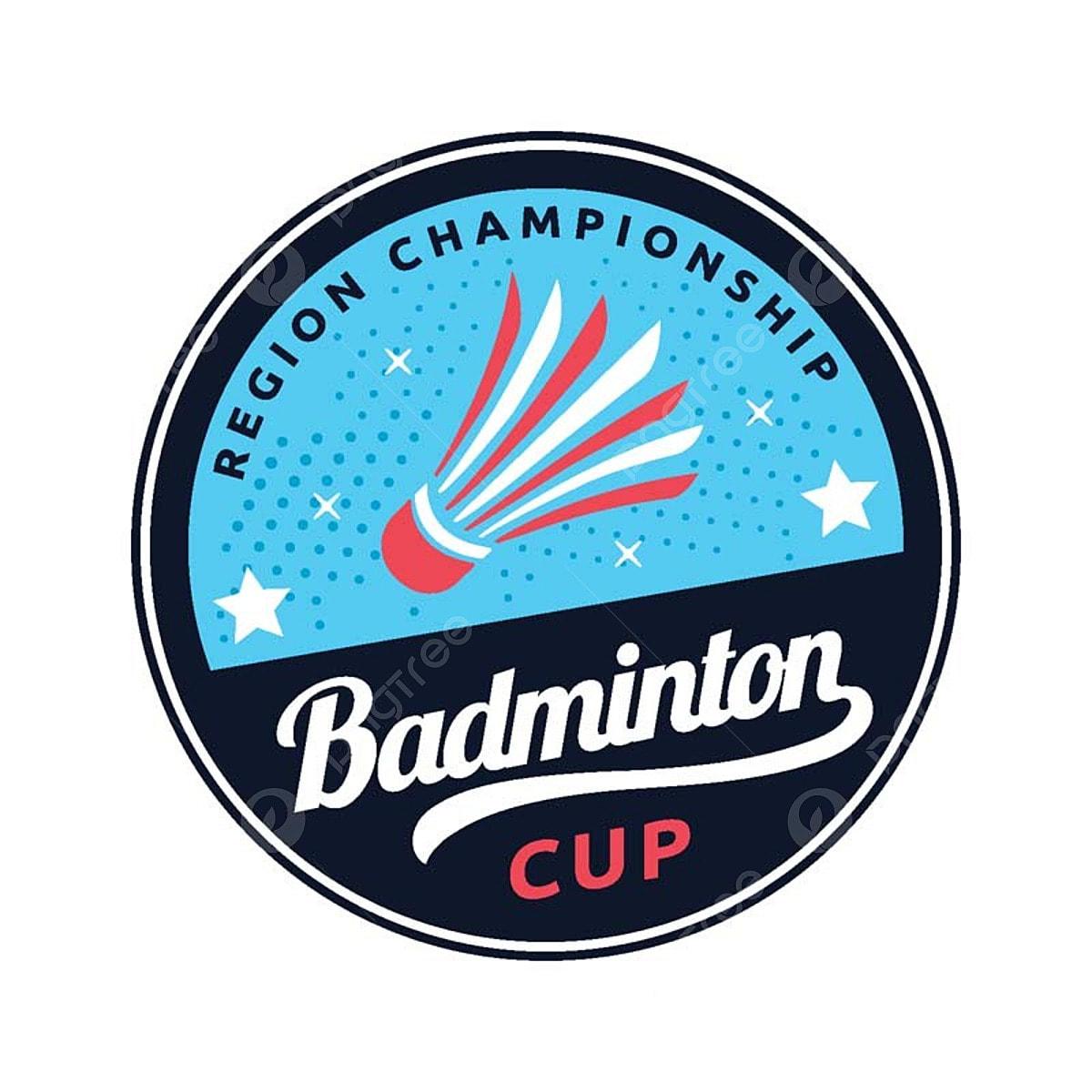 moden badminton lencana logo ilustrasi badminton bulu