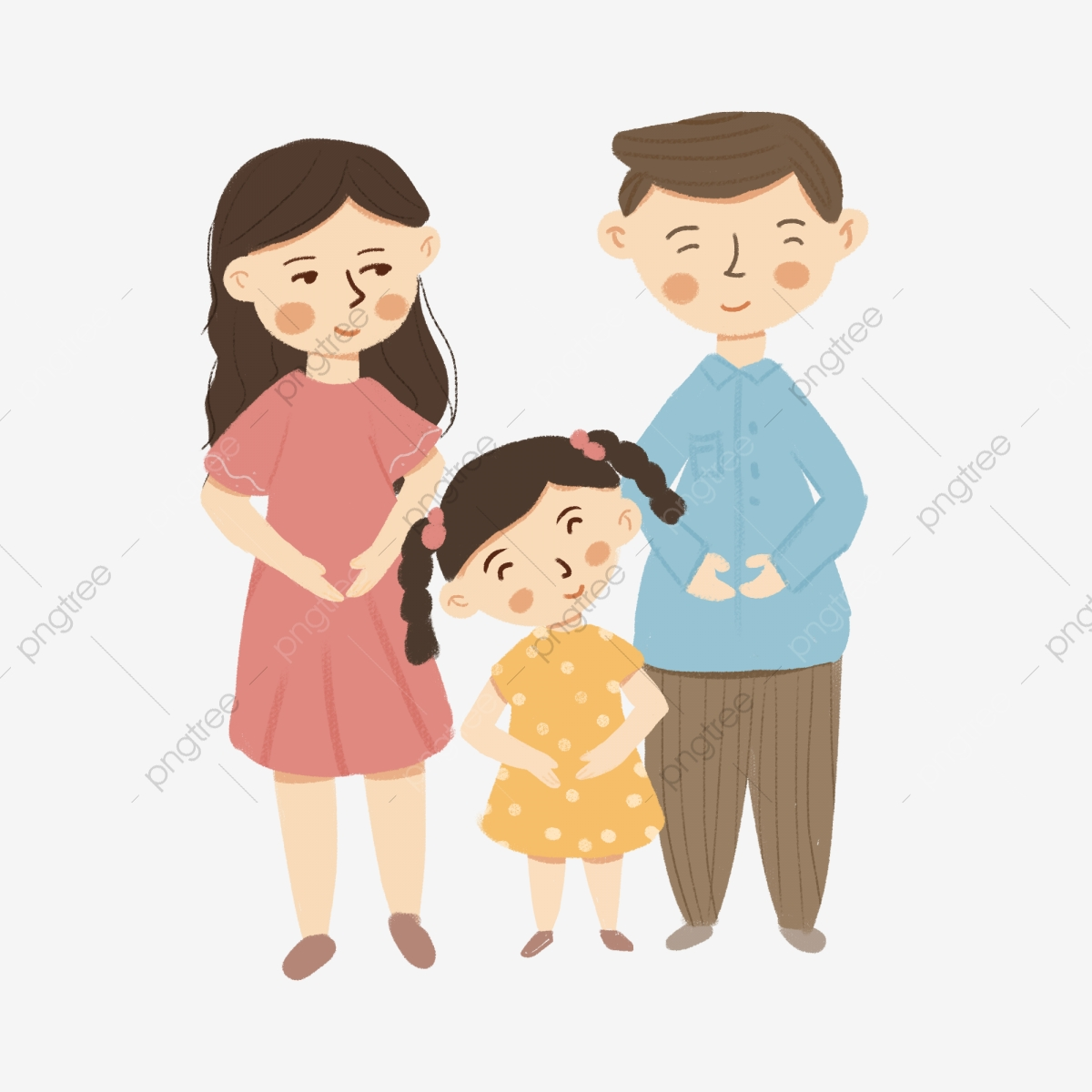 Gambar Ibu Dan Ayah Elemen Kartun Potret Keluarga Gadis Kecil Ayah Ibu Gadis Kecil Png Dan Psd Untuk Muat Turun Percuma
