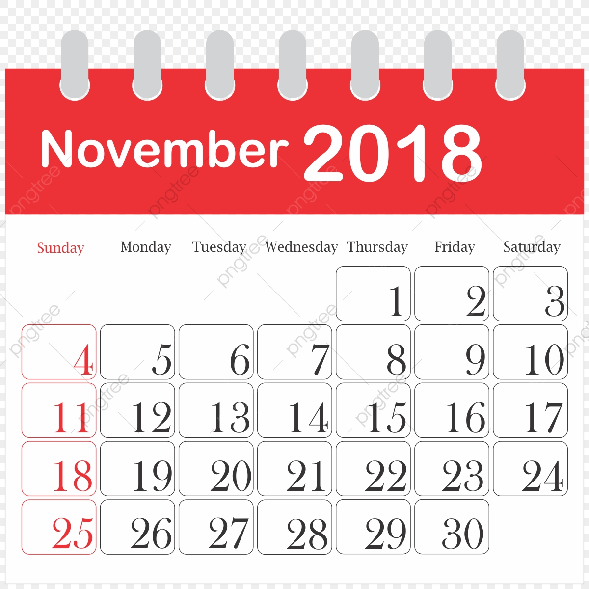 Month Calendar 2018 November, 2018, Icon, Daily PNG
