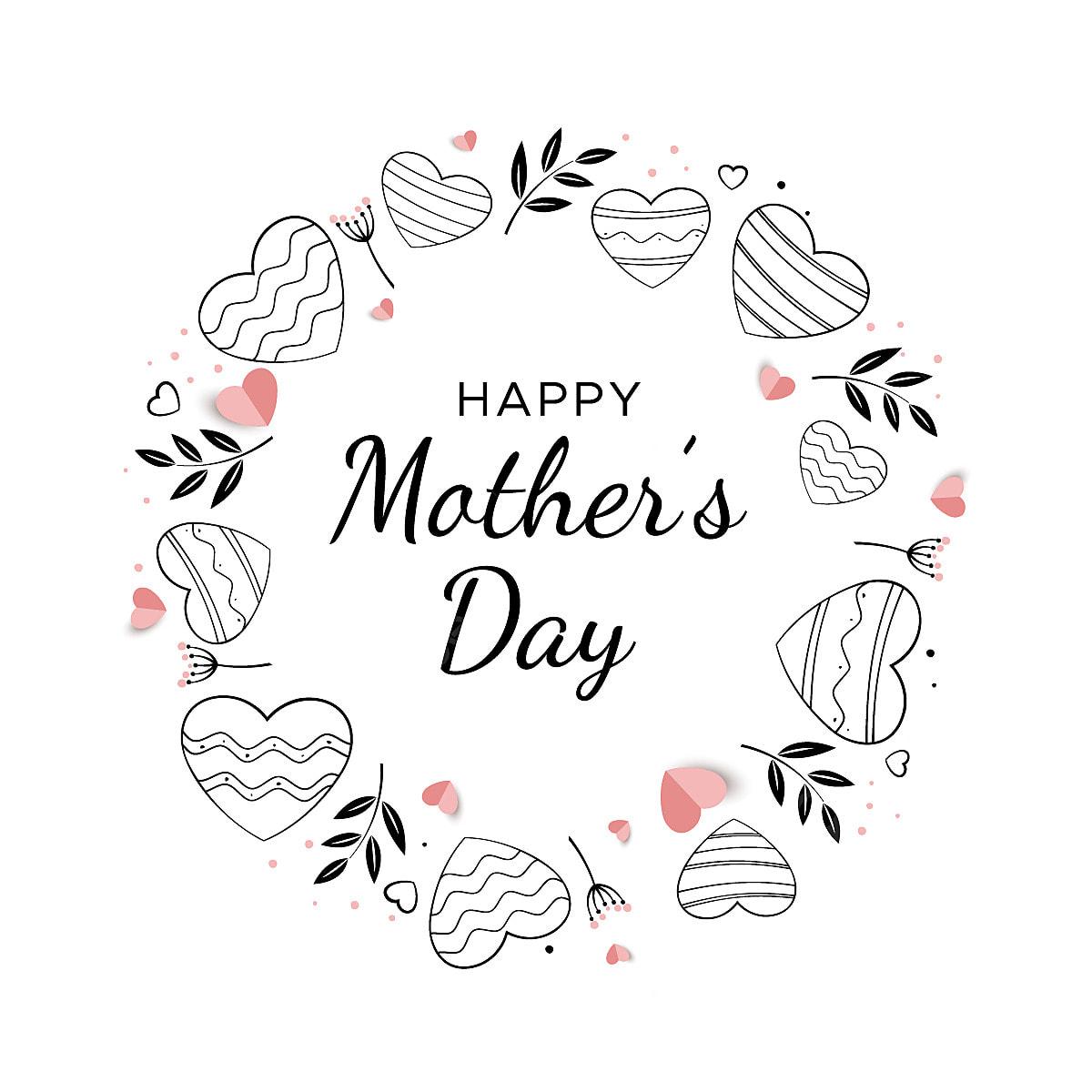 Tarjeta Del Día De La Madre Con Una Guirnalda De Corazones Madre La