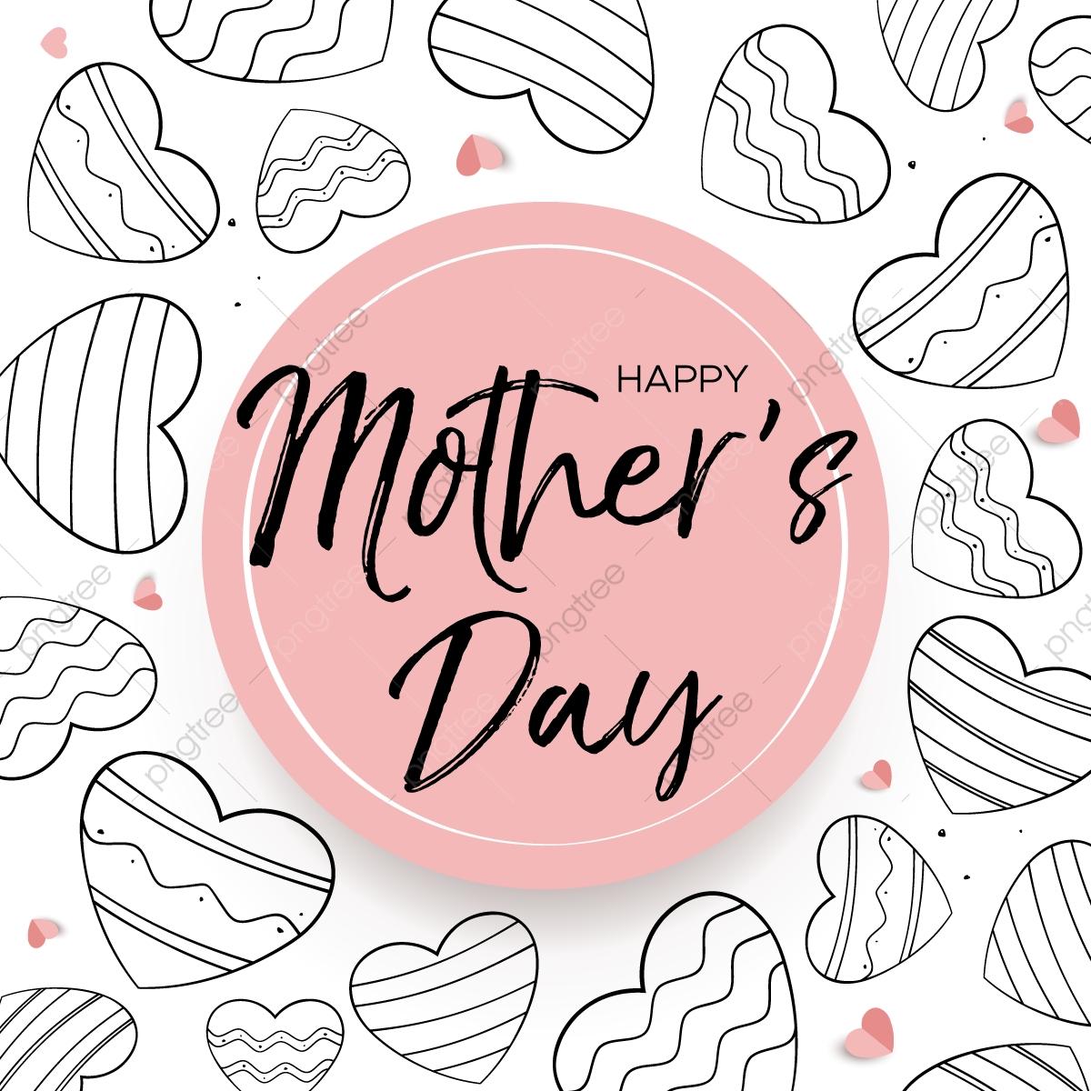 Tarjeta Del Día De La Madre Con Exquisitos Corazones Madre La