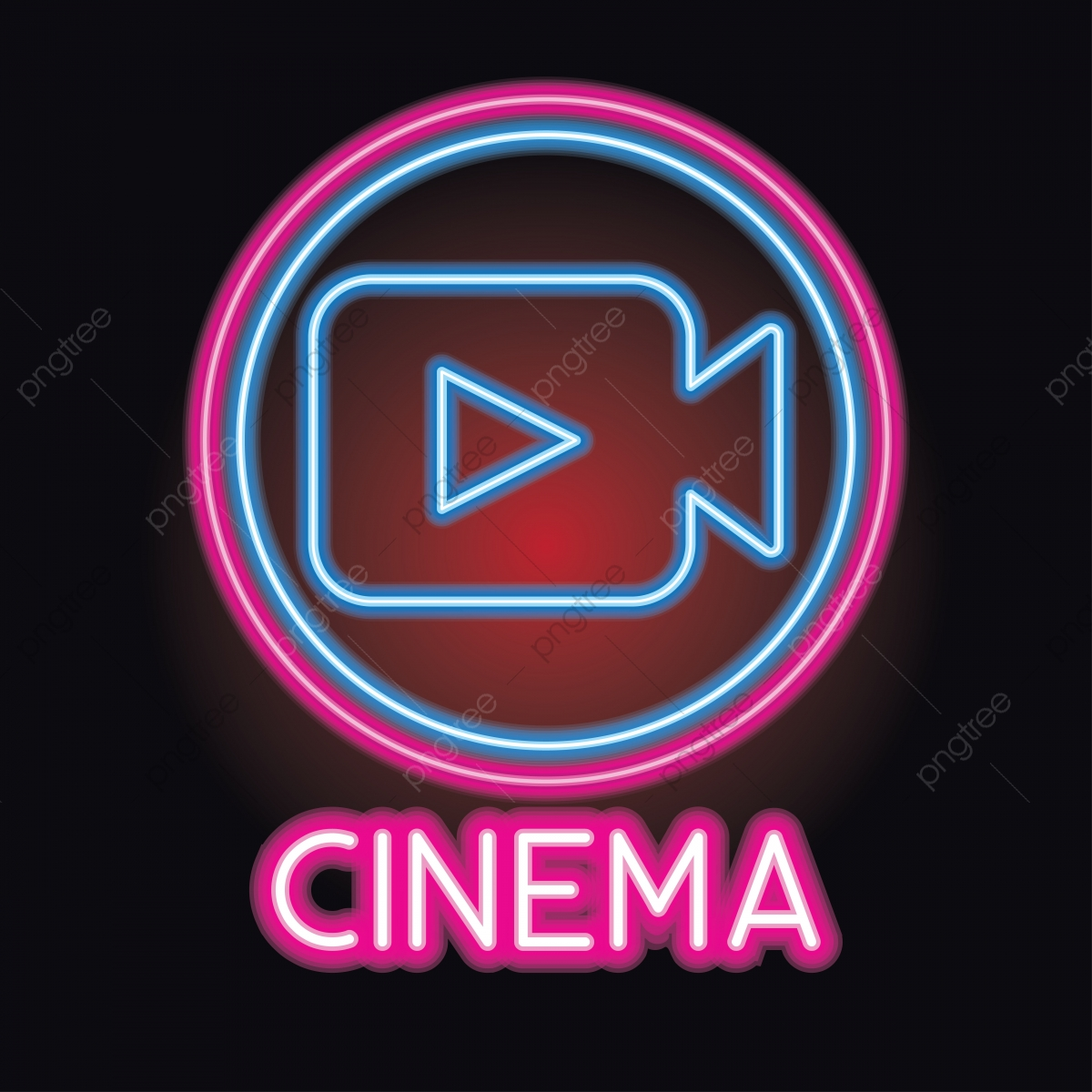 Movie Cinema Entertainment Logo With Neon Sign Effect Vector