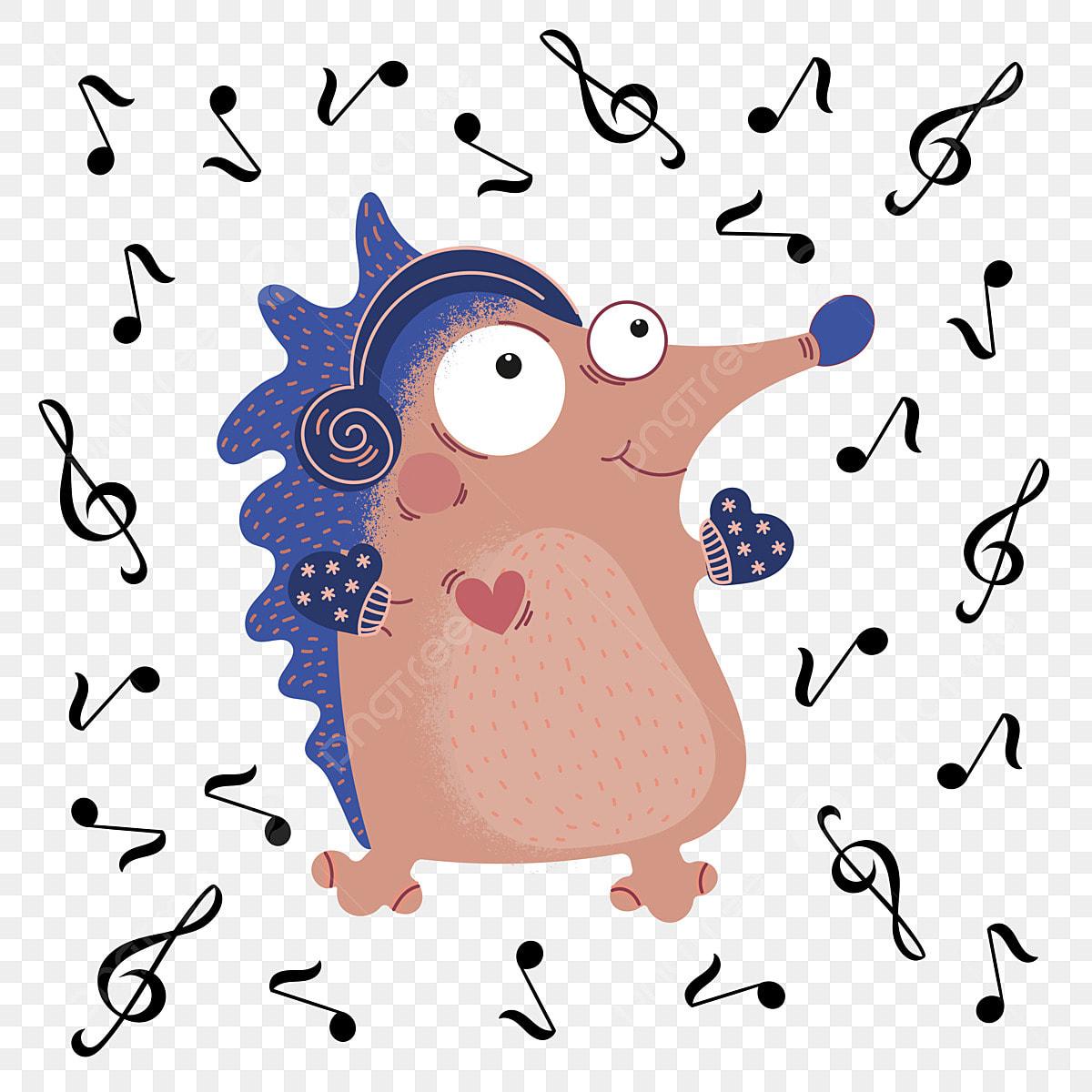 Musical Hedgehog Funny Cartoon Animal Set, Hedgehog, Animal