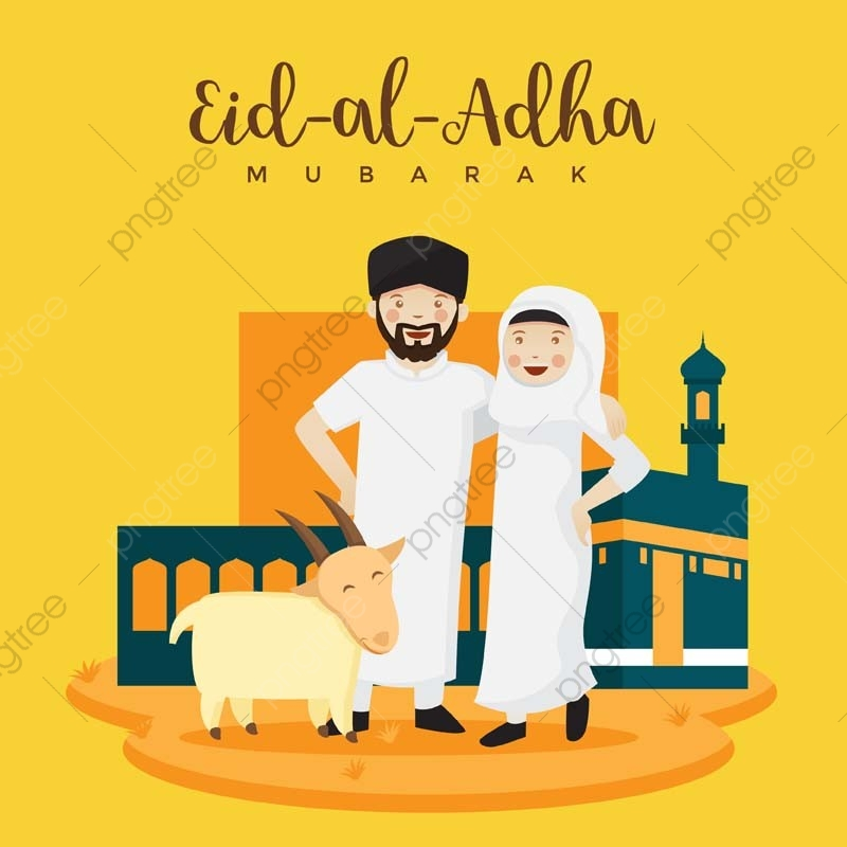 Muslim Young Couple Hajj Celebration Eid Al Adha Greeting