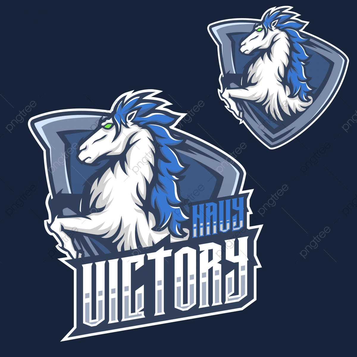 Navy Horse Mustang Esports Logo For Mascot And Twitch Badge Character Club Png And Vector With Transparent Background For Free Download
