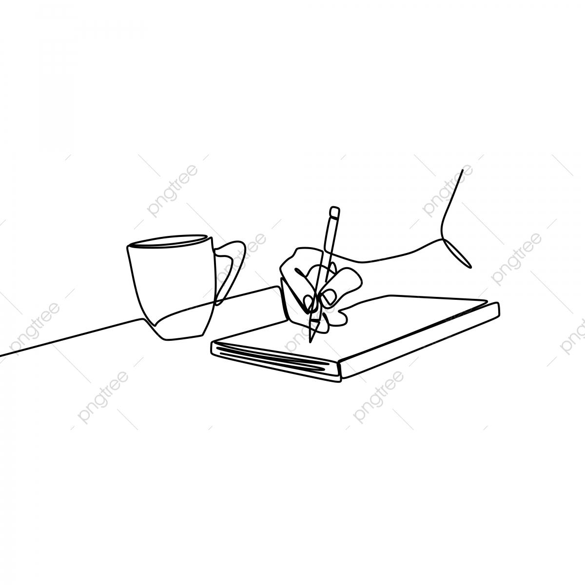 Eine Zeichnung Von Hand Schreiben An Einem Buch Neben Einer