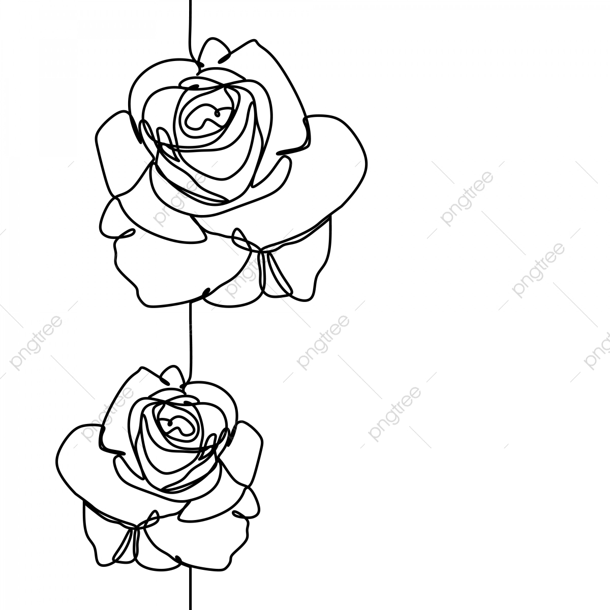One Line Drawing Of Rose Flower Minimalist Design Isolated On White Background Vector Illustration For Poster Roses Clipart Banner And Wallpaper Template Simple Elegant Continuous Lineart Style Png And Vector With Transparent