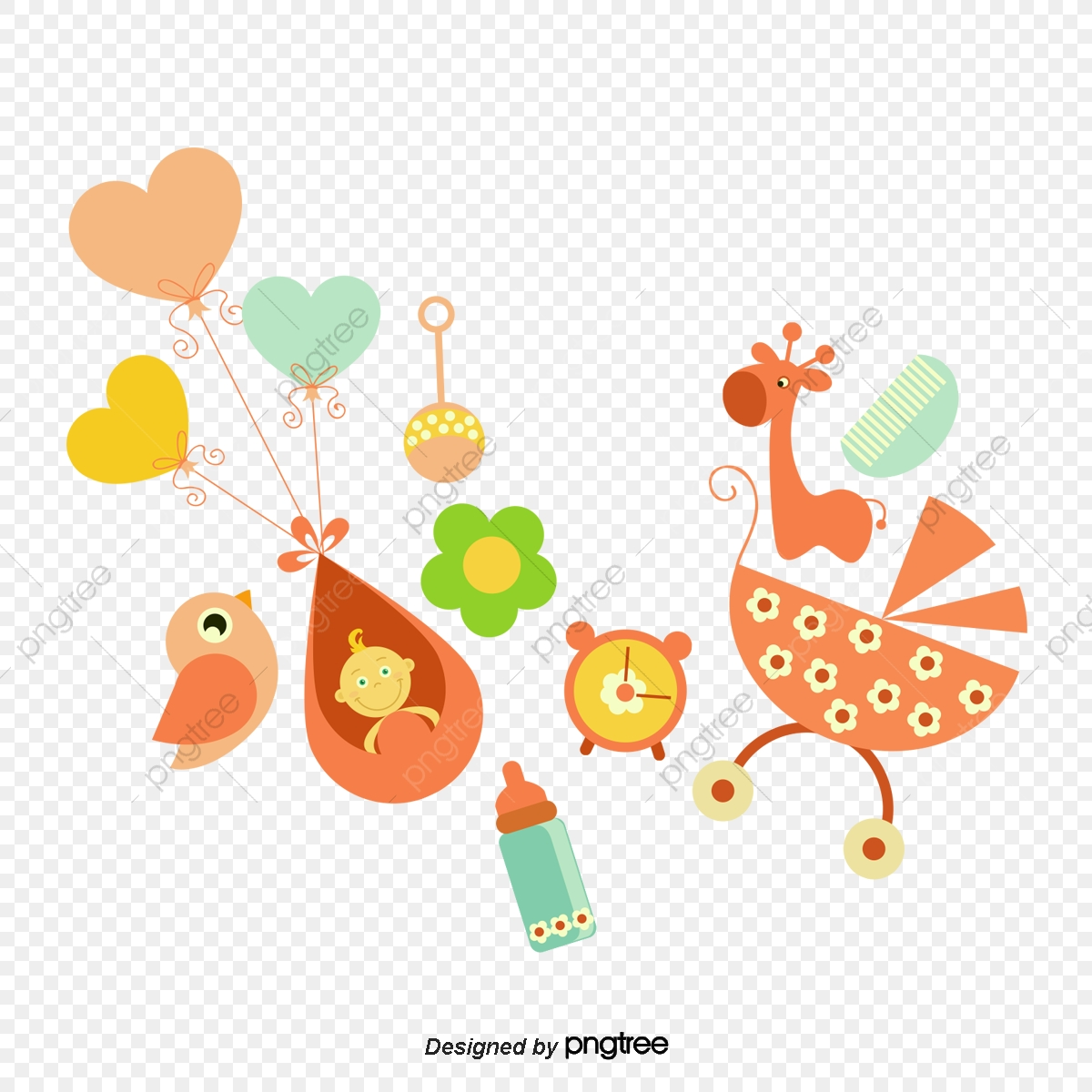 Orange Cartoon Baby Shower Decoration Birth Feeding Bottle Baby Png Transparent Clipart Image And Psd File For Free Download