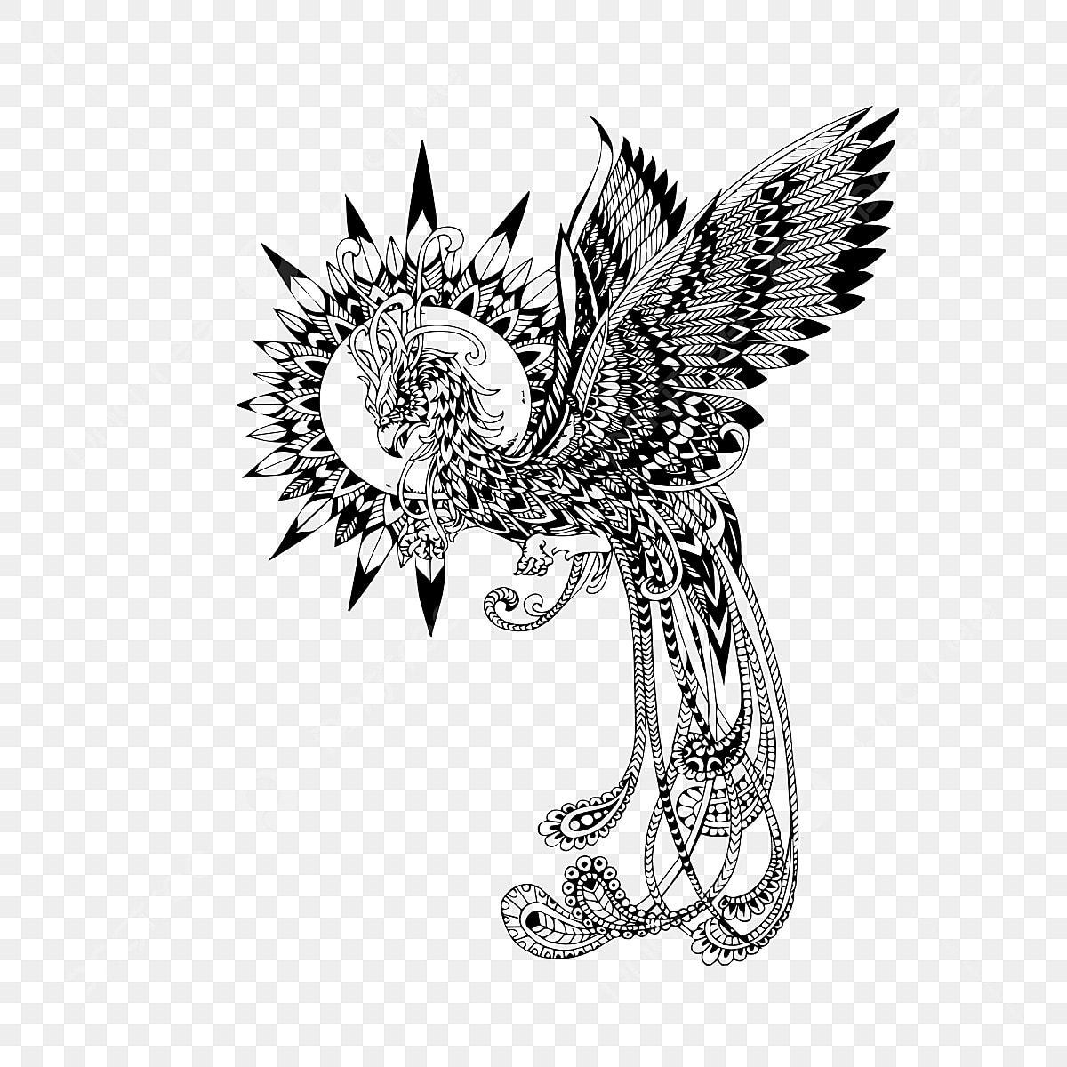Phoenix Tatouage Conception Lart Des Objets Graphiques Black Voler Fichier Png Et Psd Pour Le Telechargement Libre