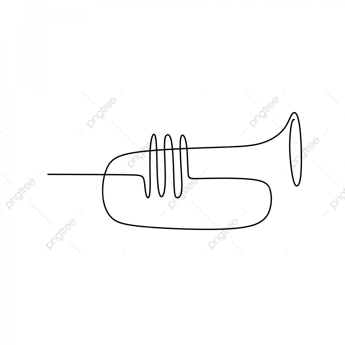 Picture Of A Continuous Line Of Trumpet Musical Instruments, Song