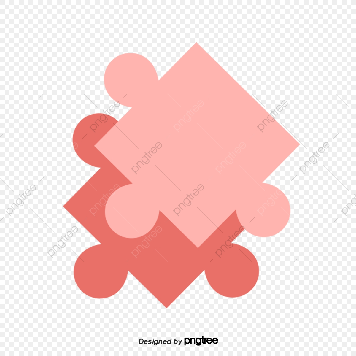 Pink And Red Puzzle Pieces Picture Maiden Heart Jigsaw Puzzle