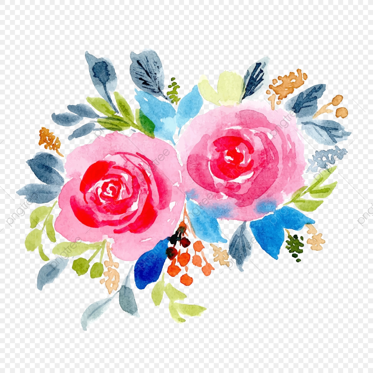 Pink Blue Floral Watercolor Background Floral Flower Leaves Png