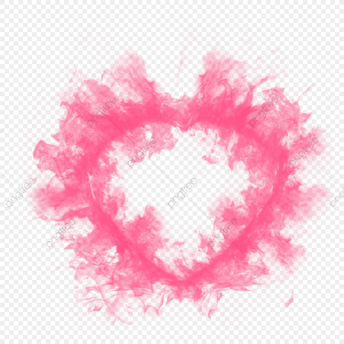 Pink Heart Smoke Effect For Love You Card, Emoji, Abstract
