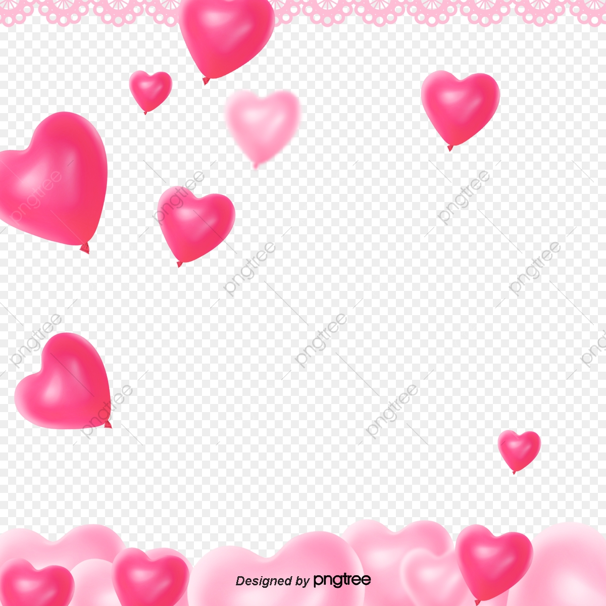 Pink Stereoscopic Heart Love Balloon Lace Valentines Day ...