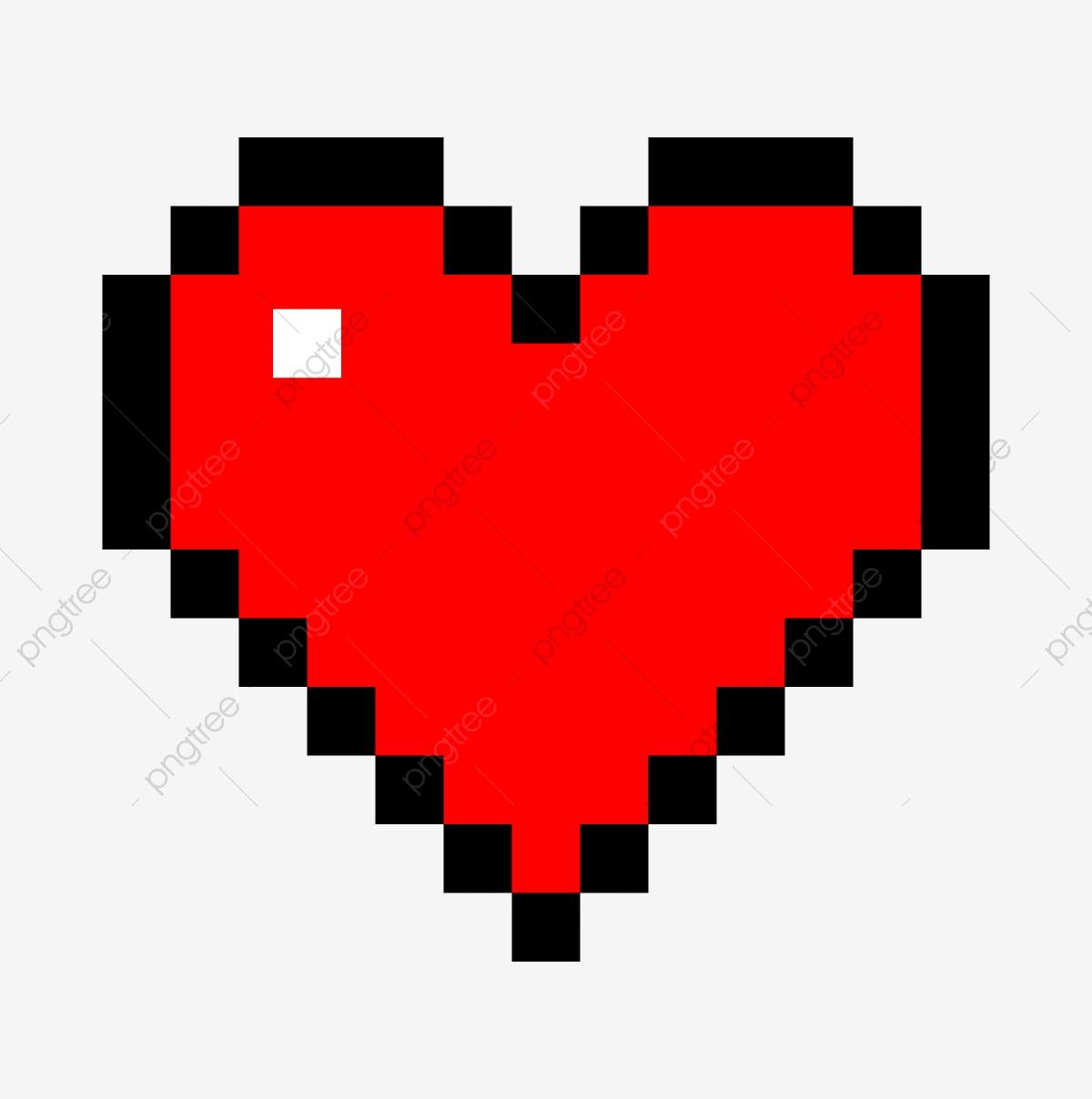 Pixel Cœur Rouge Cartoon Coeur Coeur Cœur Damour Fichier
