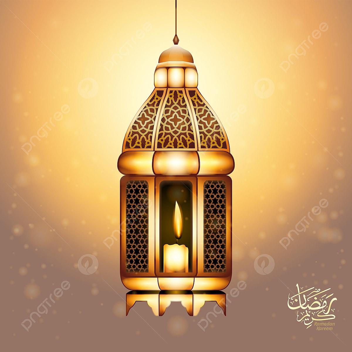 Ramadan Kareem Ucapan Latar Belakang Dengan Realistik Lilin