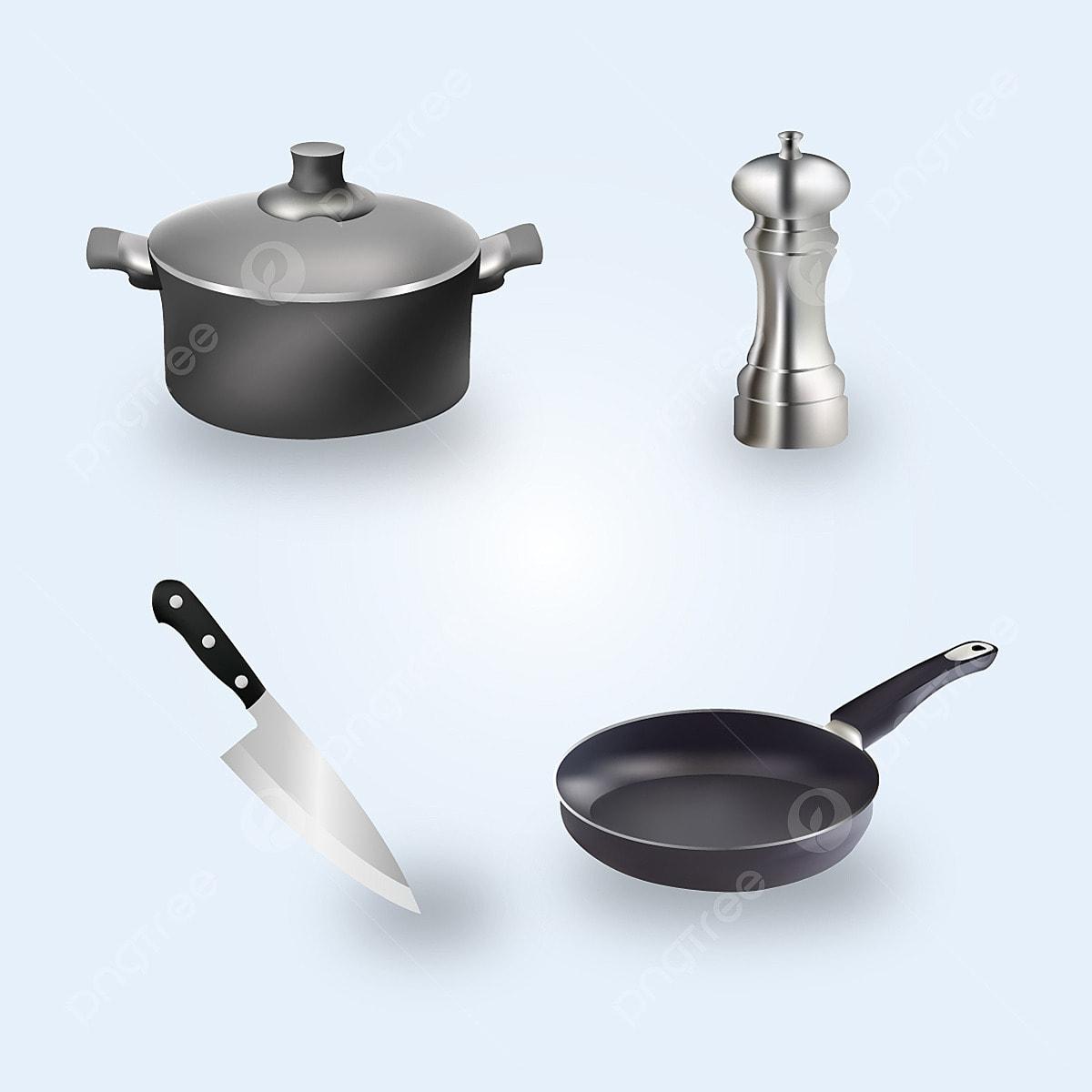 Gambar Realistik Peralatan Dapur Ilustrasi Hitam Chef Memasak Png Dan Vektor Untuk Muat Turun Percuma