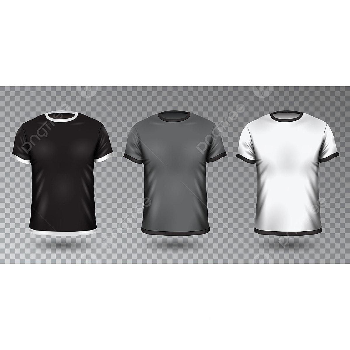 Realistic Unisex Shirt Design Tempale On Transparent Background