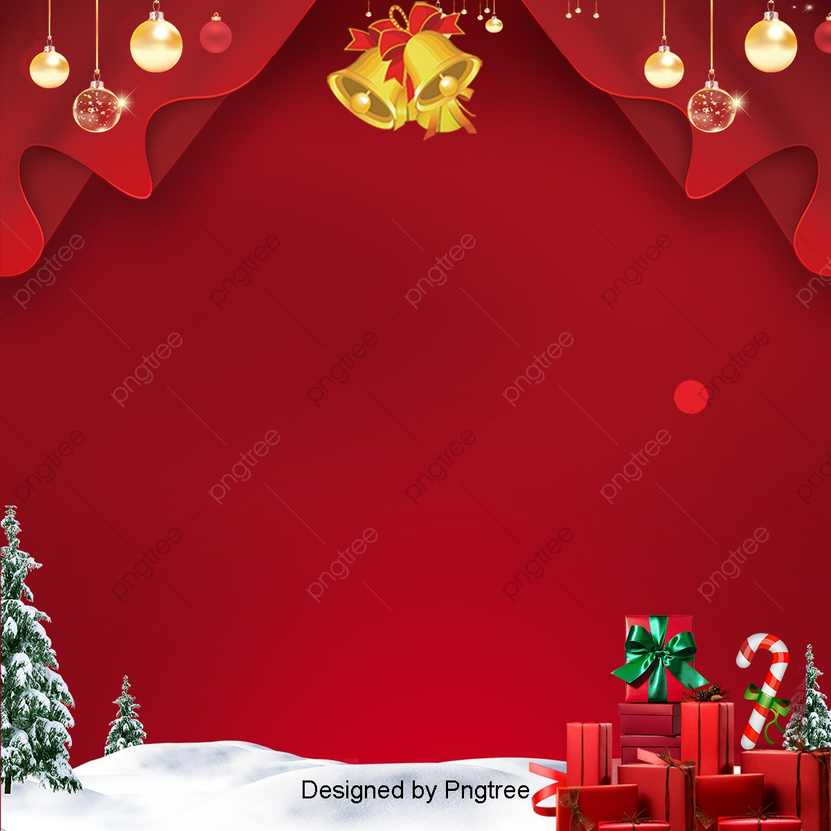 Christmas Background Design.Red Christmas Background At The Fashion Design Golden Bell