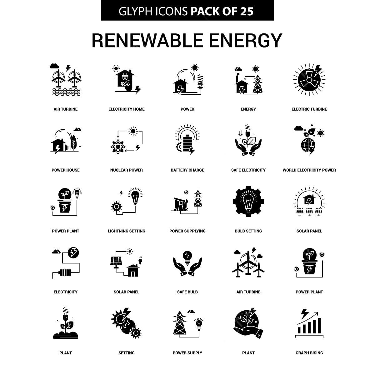 Renewable Energy Glyph Vector Icon Set, Air Turbine, Battery