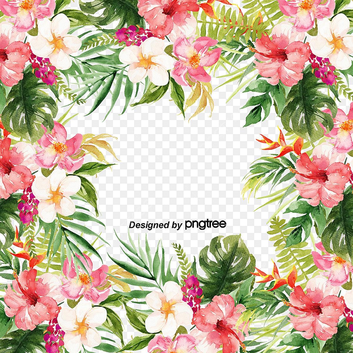 Flores Tropicais E Elementos Vintage As Folhas Retro