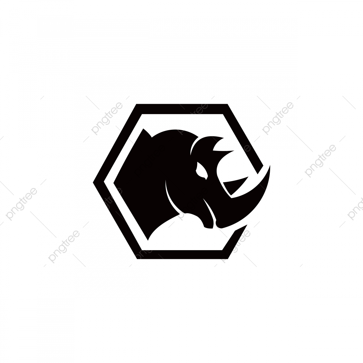Rhinoceros Vector Silhouette Illustration Isolated On White