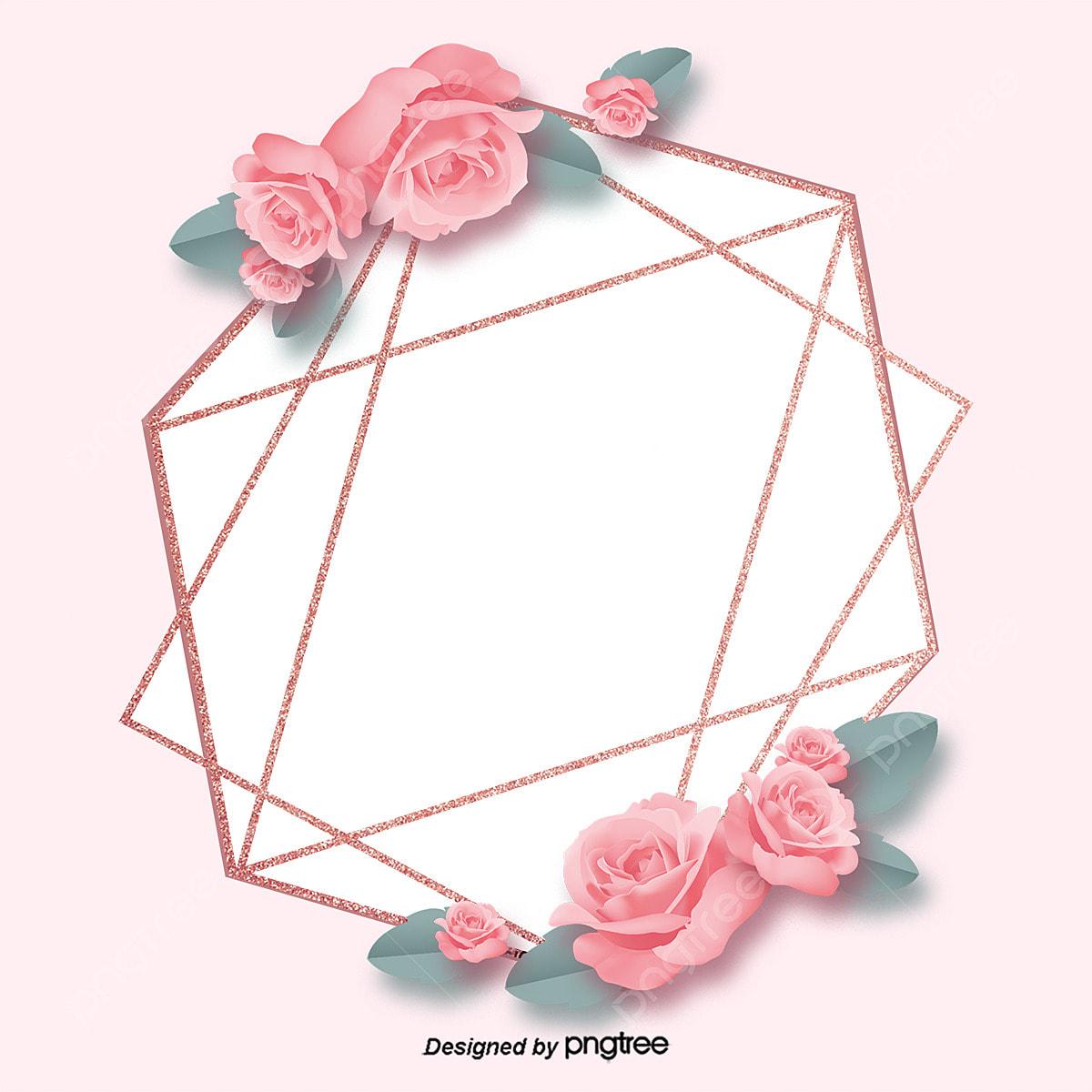 Rose Gold Pink Rose Geometric Decoration High End Border