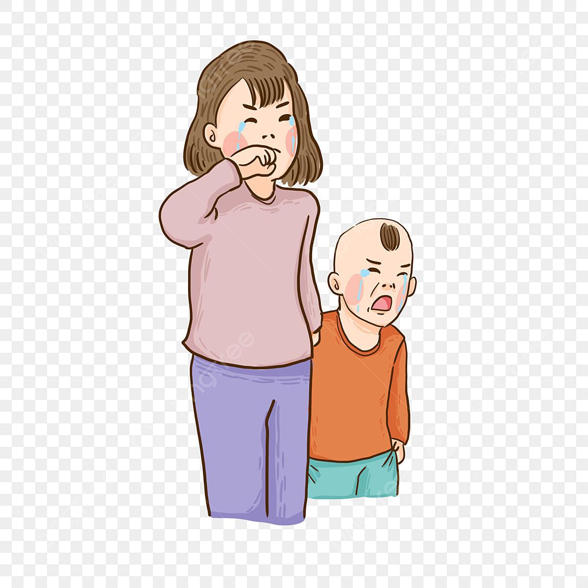 Gambar Sedih Menangis Elemen Kartun Ibu Dan Kanak Kanak Menangis Sedih Ibu Png Dan Psd Untuk Muat Turun Percuma