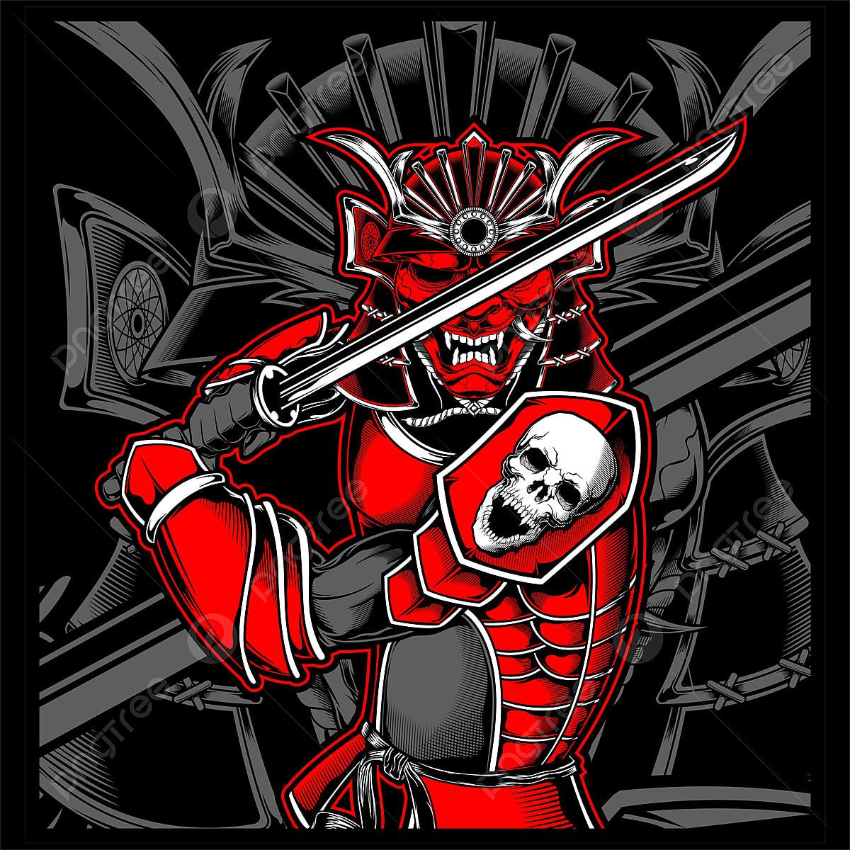 Gambar Ilustrasi Jepun Tengkorak Samurai Tengkorak Samurais Pahlawan Png Dan Vektor Untuk Muat Turun Percuma