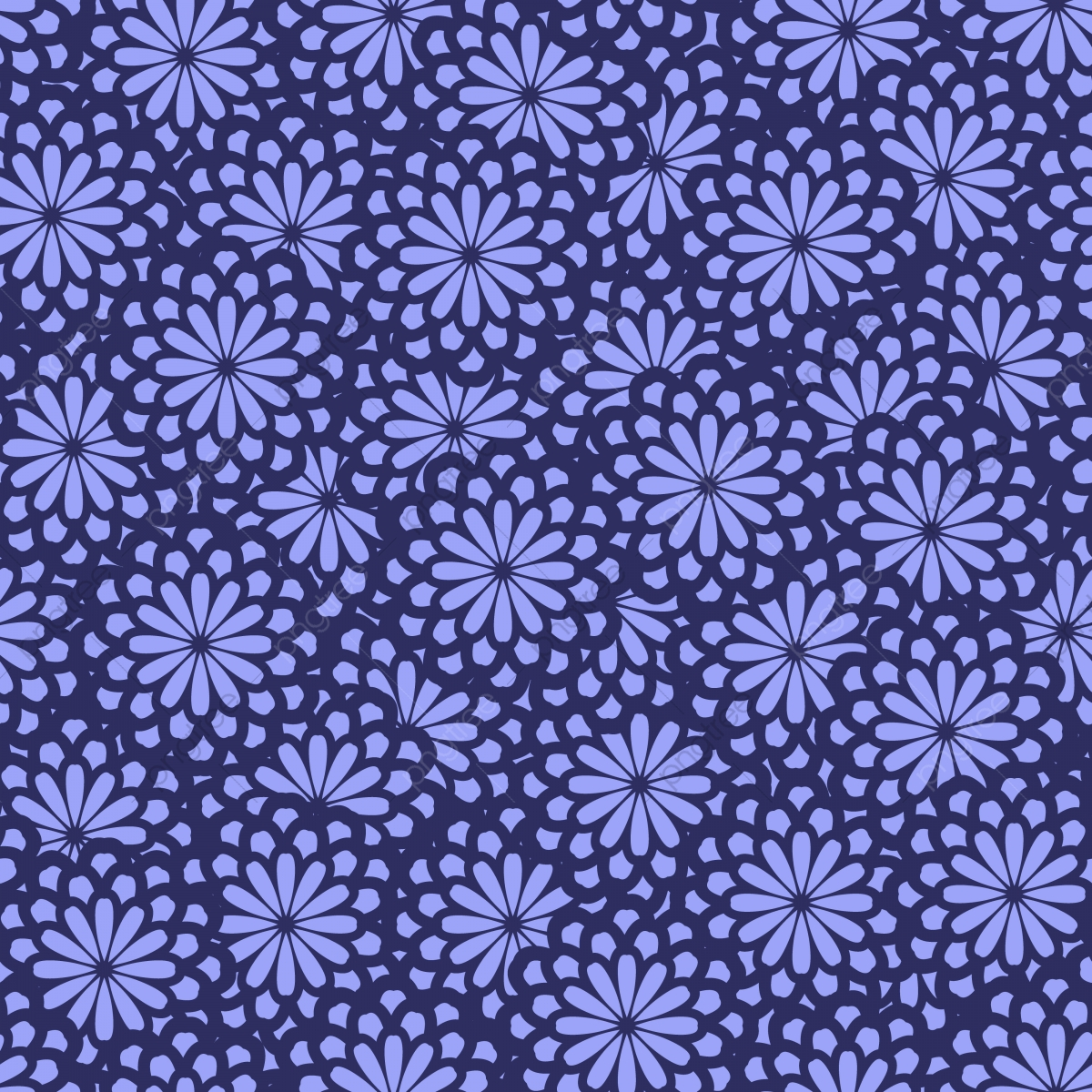 Seamless Abstract Floral Pattern In Bright Purple Background