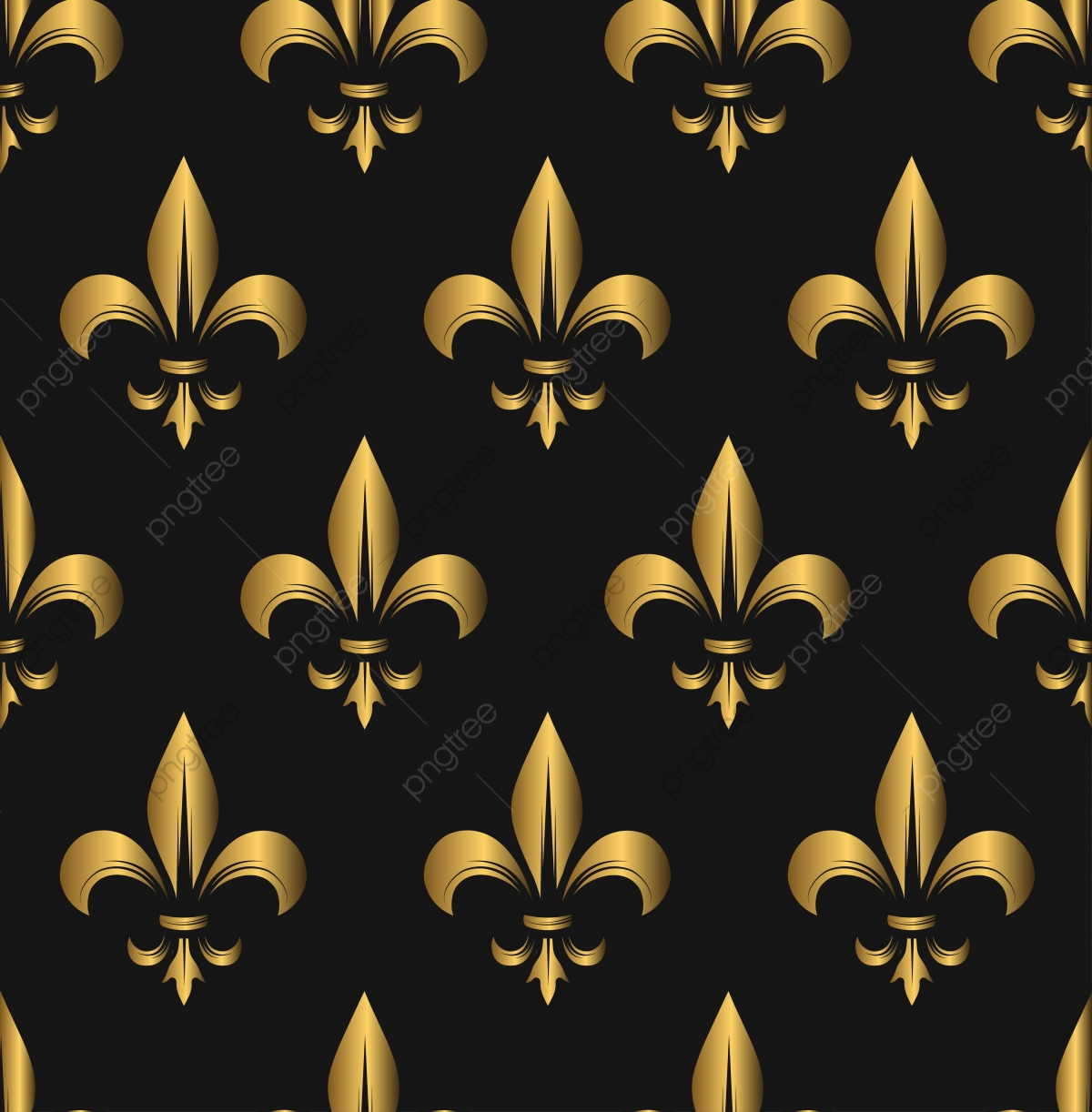 Seamless Golden Fleur De Lis Pattern Seamless Fleur De Lis Lily Png And Vector With Transparent Background For Free Download