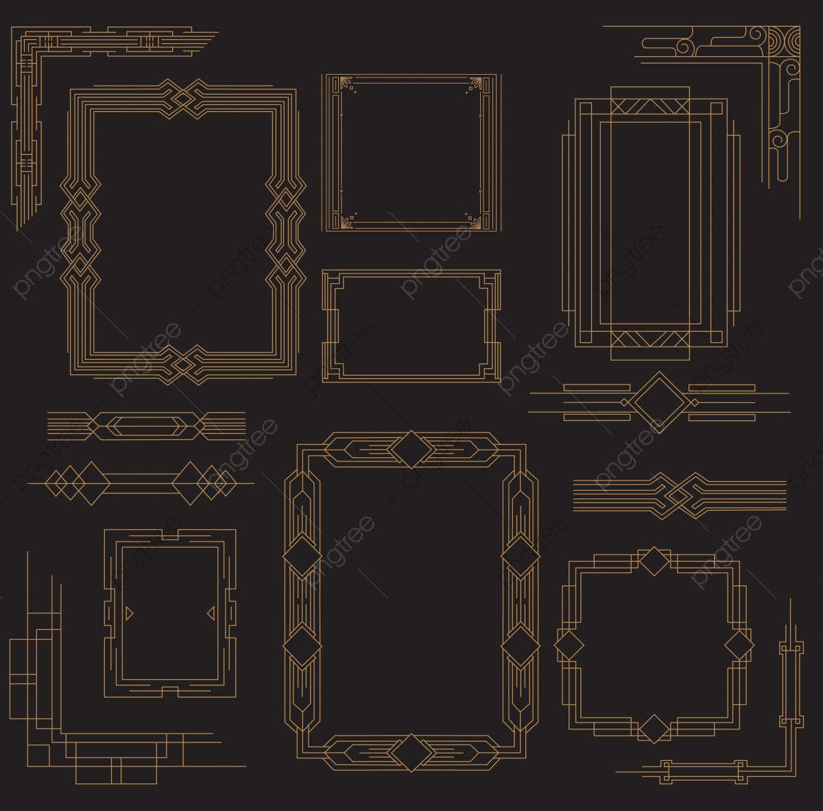 Set Of Art Deco Frame Element Decoration Frame Png And Vector With Transparent Background For Free Download