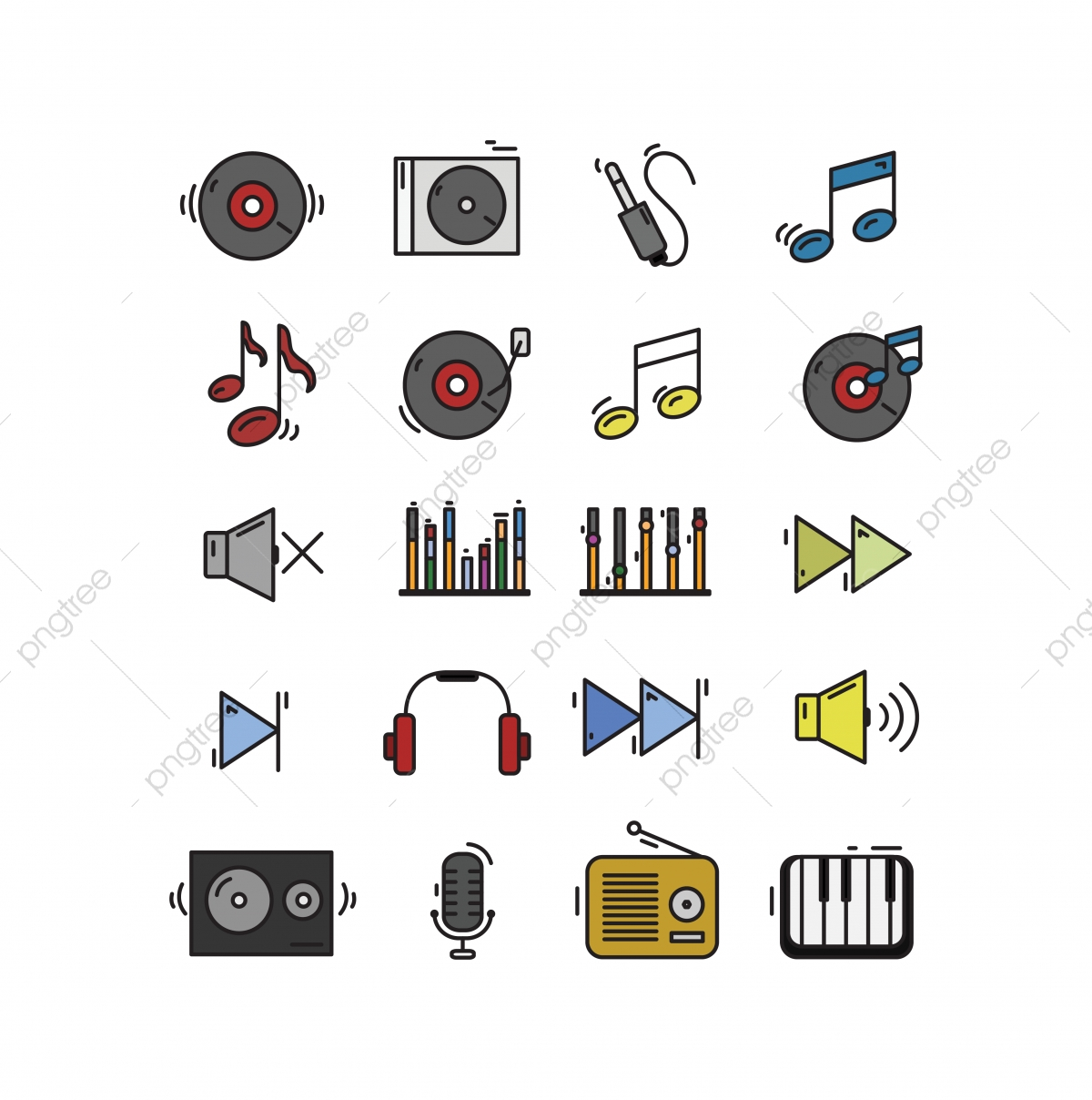 Set Of Music Icon, Music, Icon, Set PNG and Vector with