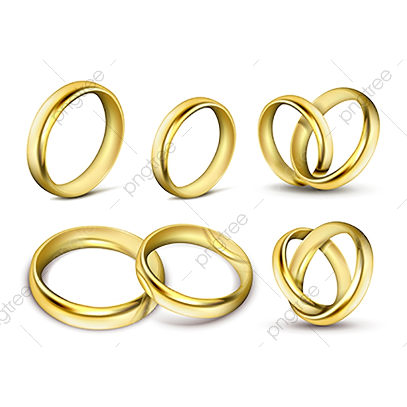 Set Of Realistic Vector Illustrations Of Gold Wedding Rings