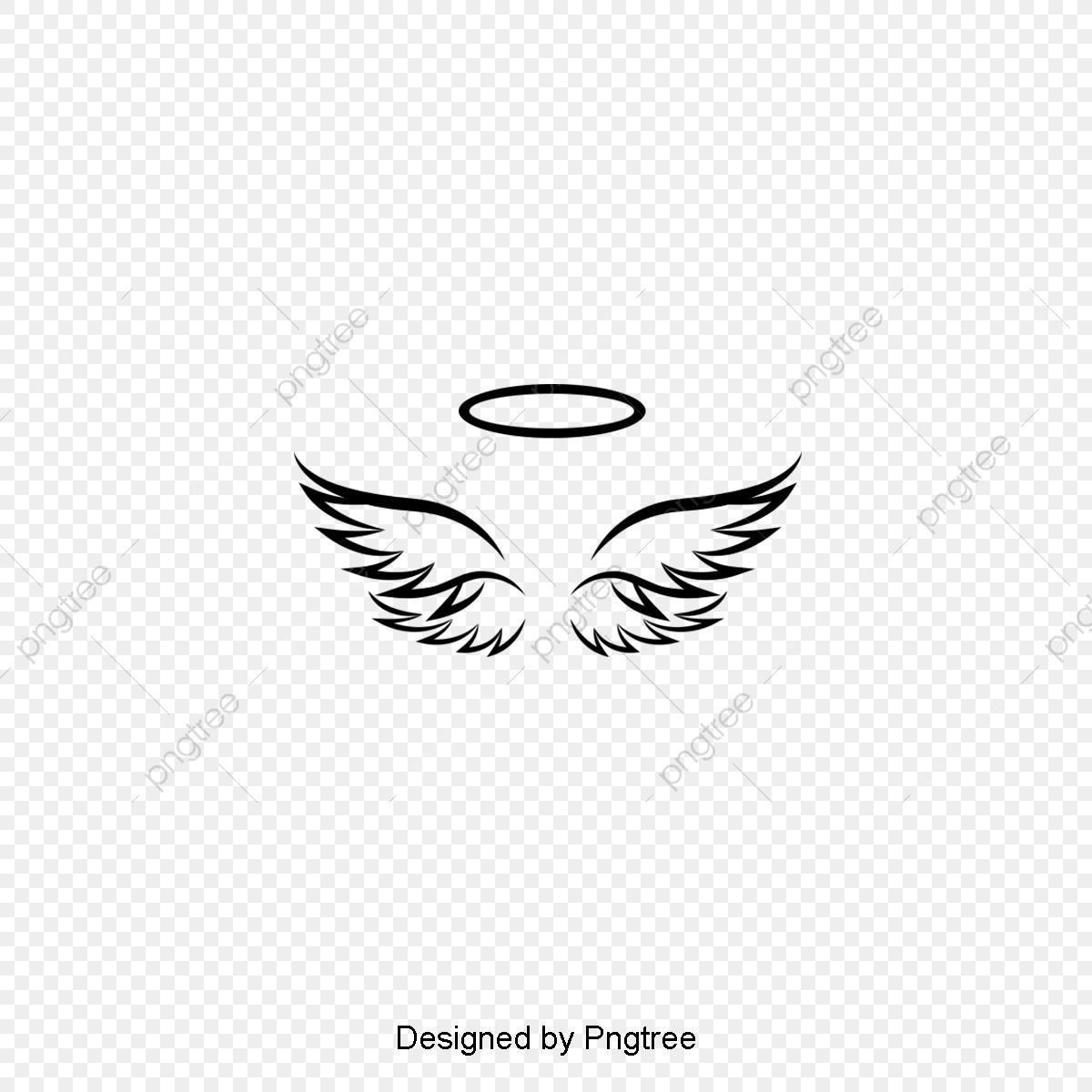 Desenho De Asas De Anjo Silhueta Simples Minimalista Preto E