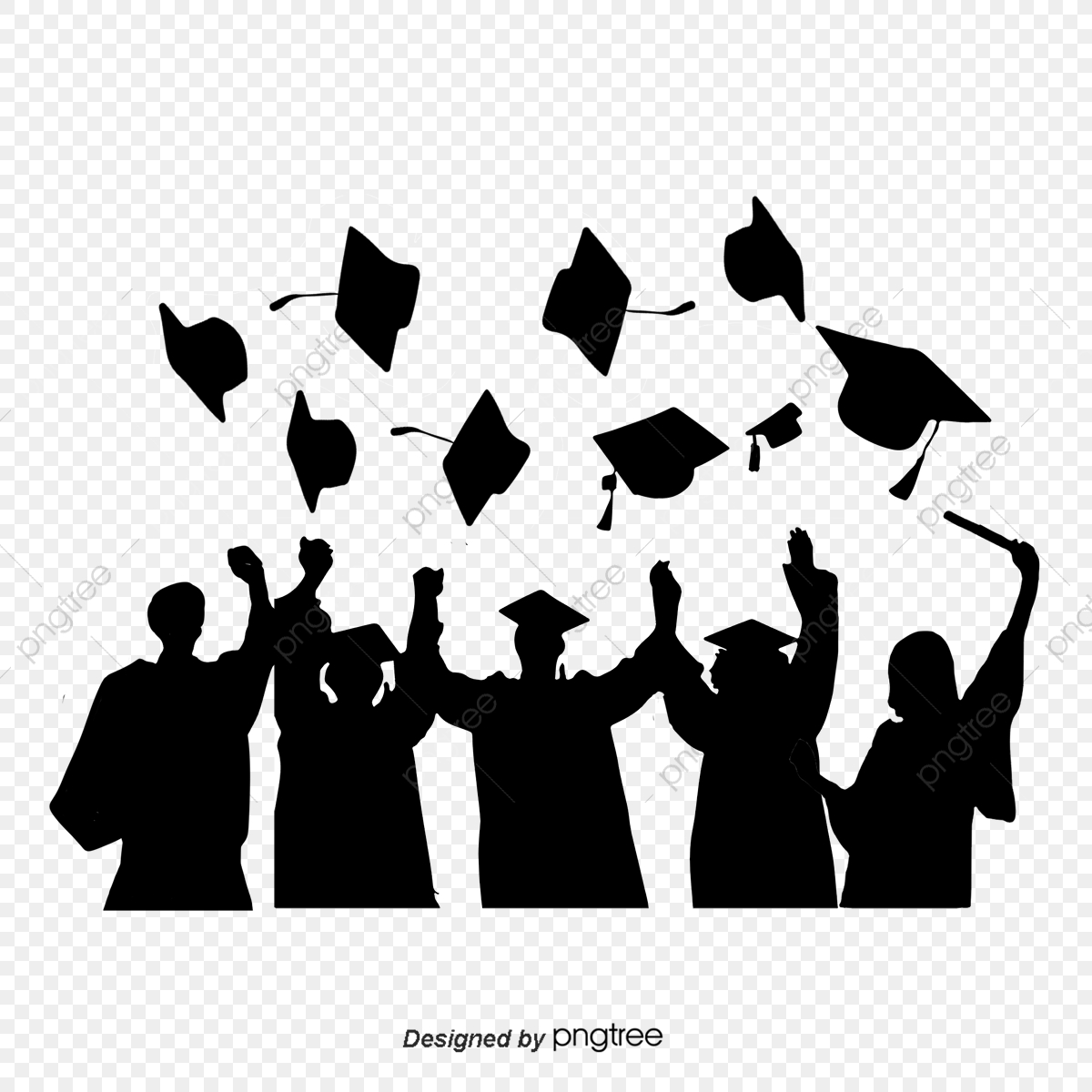 silhouettes of graduation caps scattered by students  silhouette  bachelor cap  student png