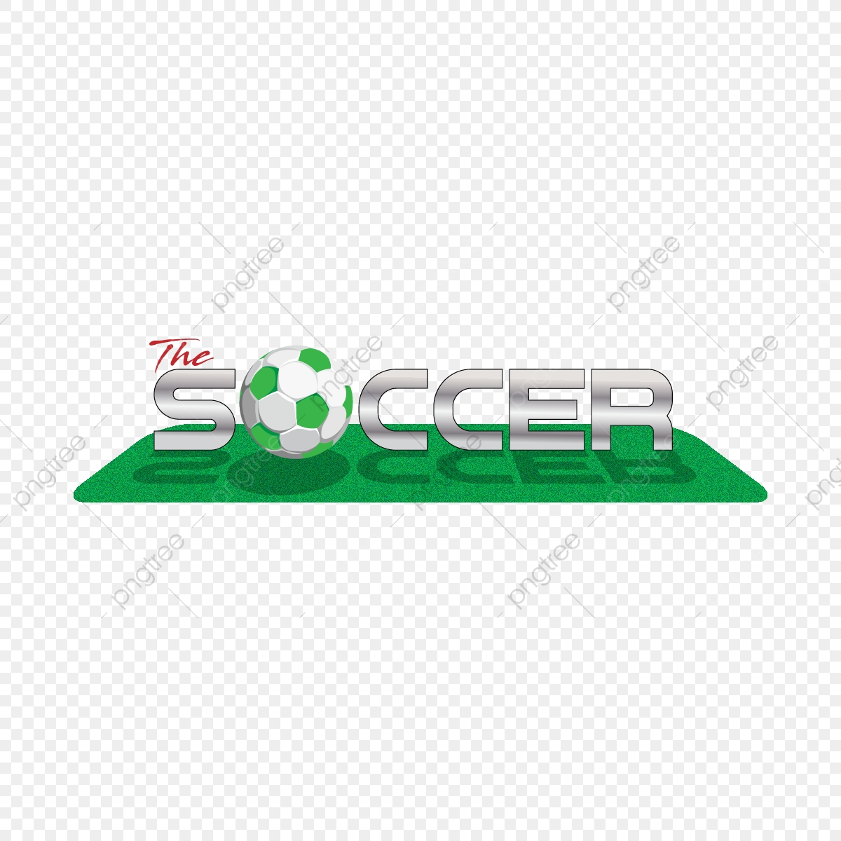 Silberne Fussball Fussball Feldgrafik 3d Logo Gras Textur 3d