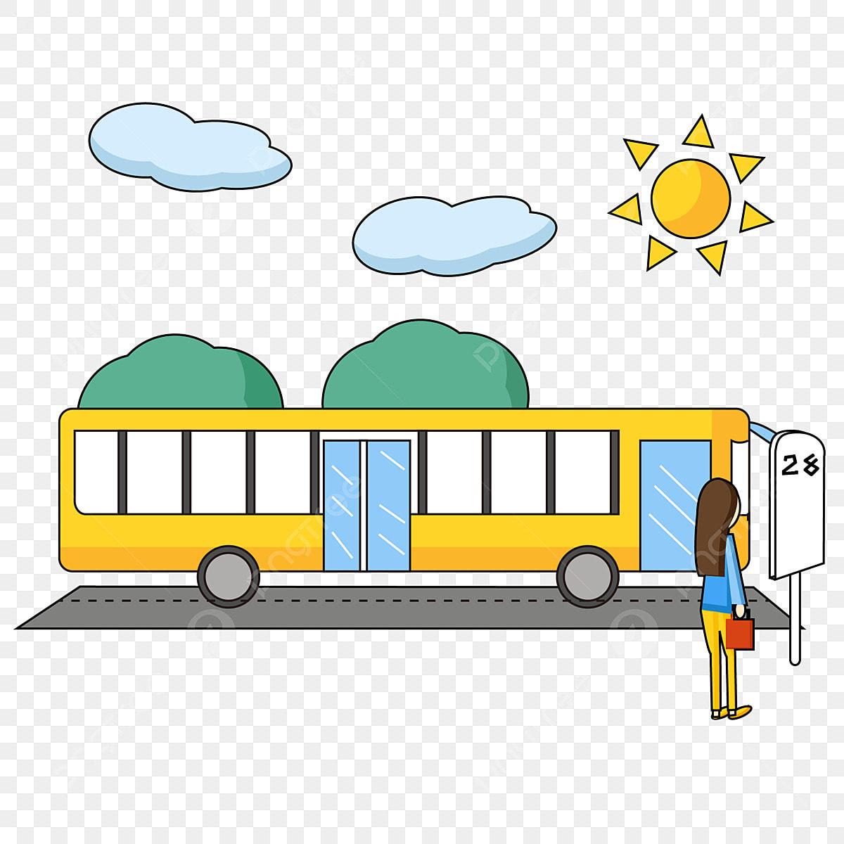 Gambar Bus Kart Yang Mudah Dan Lucu Menunggu Pemandangan Kereta Tunggu Kereta Tempat Menunggu Bas Png Dan Vektor Untuk Muat Turun Percuma