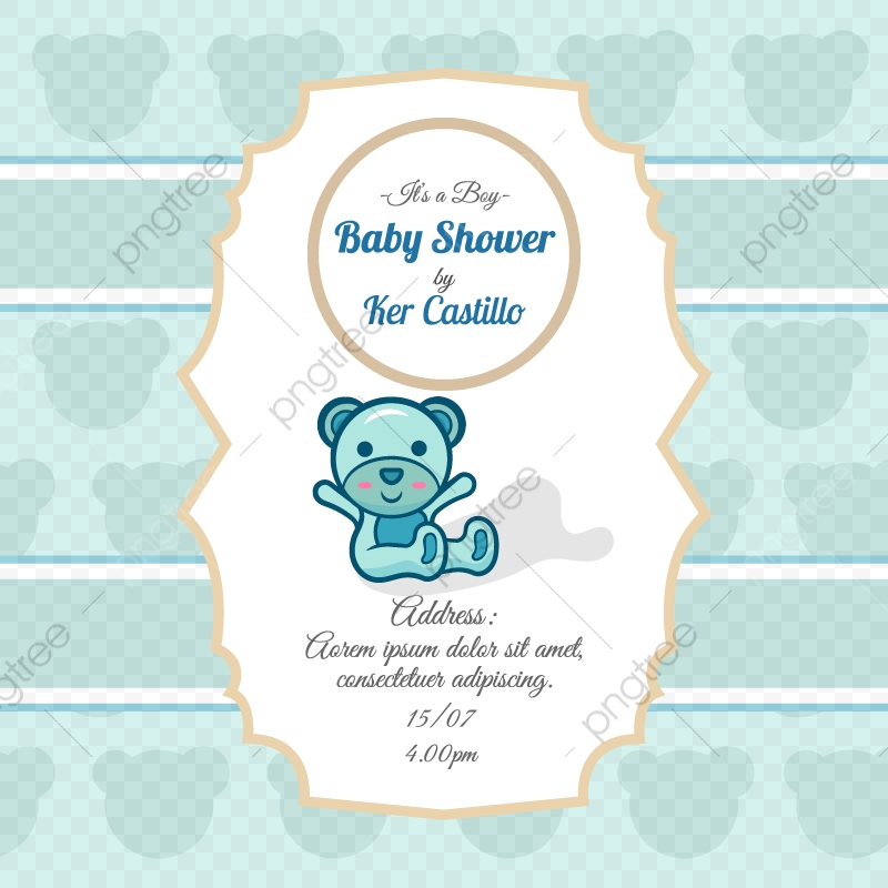 Sky Blue Card For Baby Shower With A Cute Bear Invitation