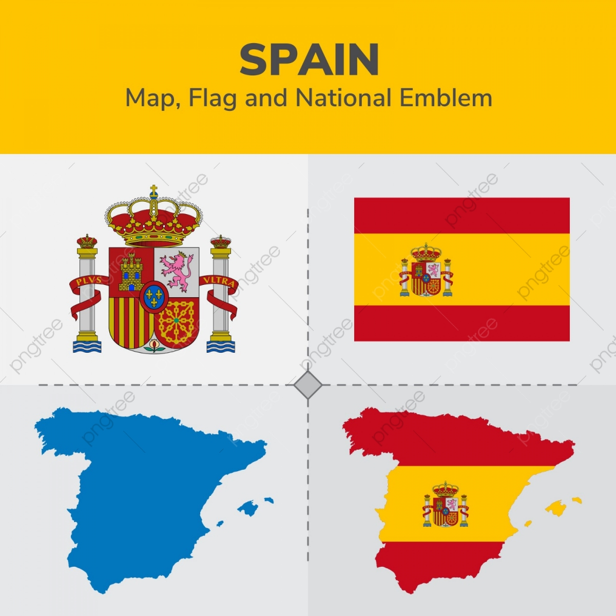 Map South Of Spain.Spain South Sudan Map Flag And National Emblem Continents