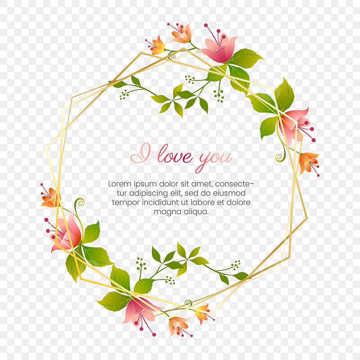 Spring Hiasan Bunga Bunga Perkahwinan Bingkai Emas Jemputan Seni