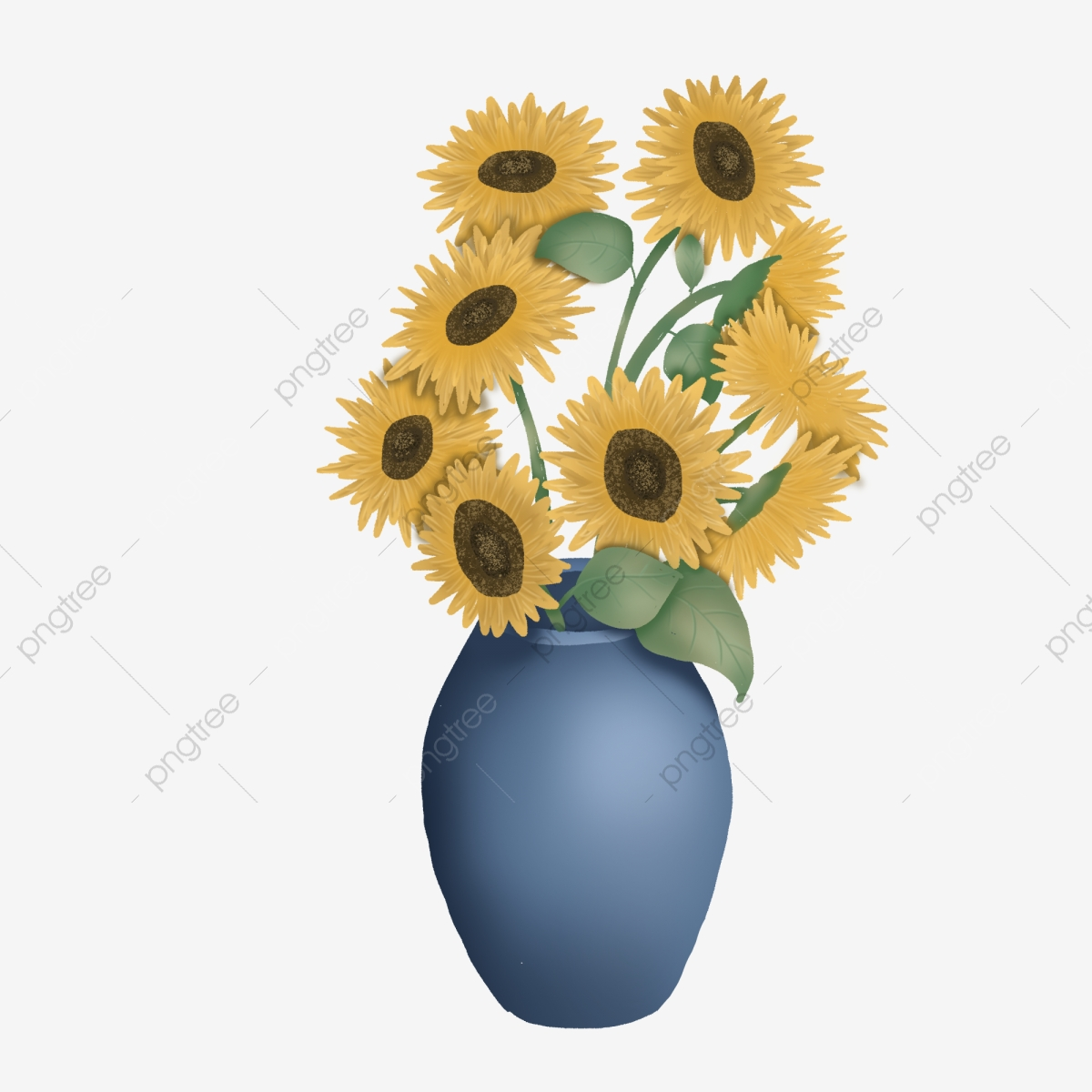 Sunflower Cartoon Hand Drawn Design In Vase Commercial