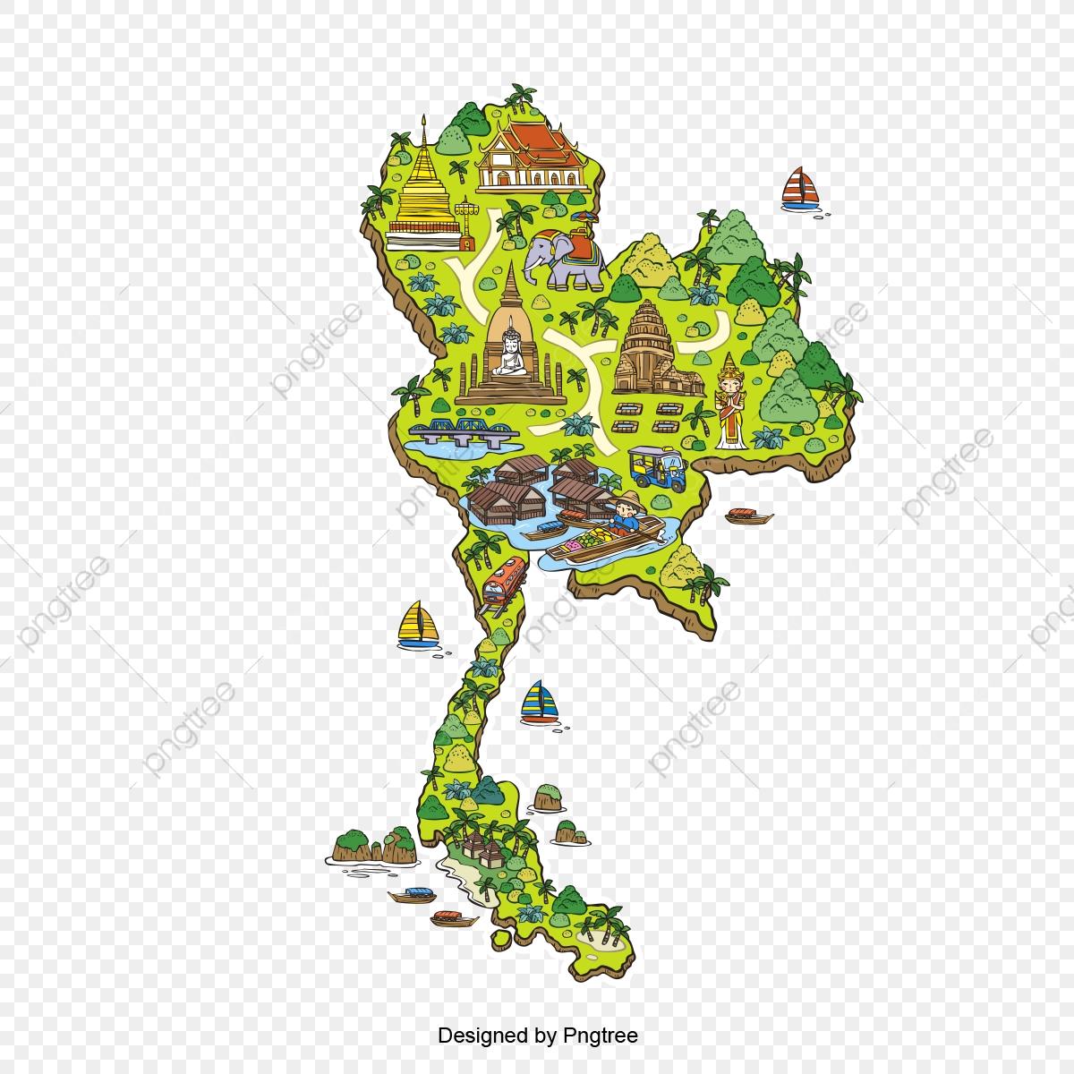 Thailand Tourist Map Design, Map Of Thailand, Illustration ...