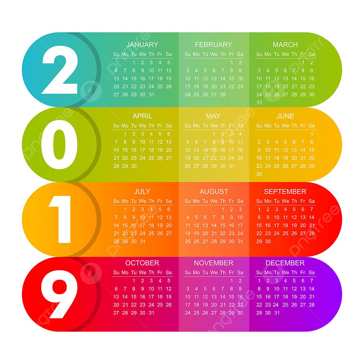Calendario 2019 Moderno.Il Moderno 2019 Calendario E Ricco Di Colore Annuale Png E