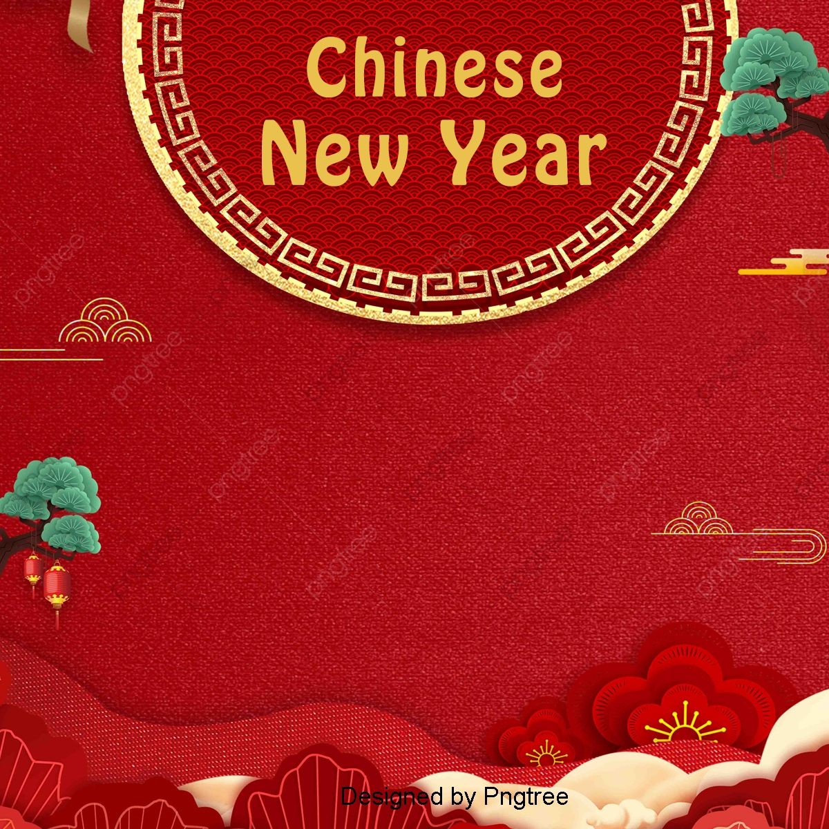 I Fiori Del Capodanno Cinese Tradizionale Sfondo Rosso Vintage Il