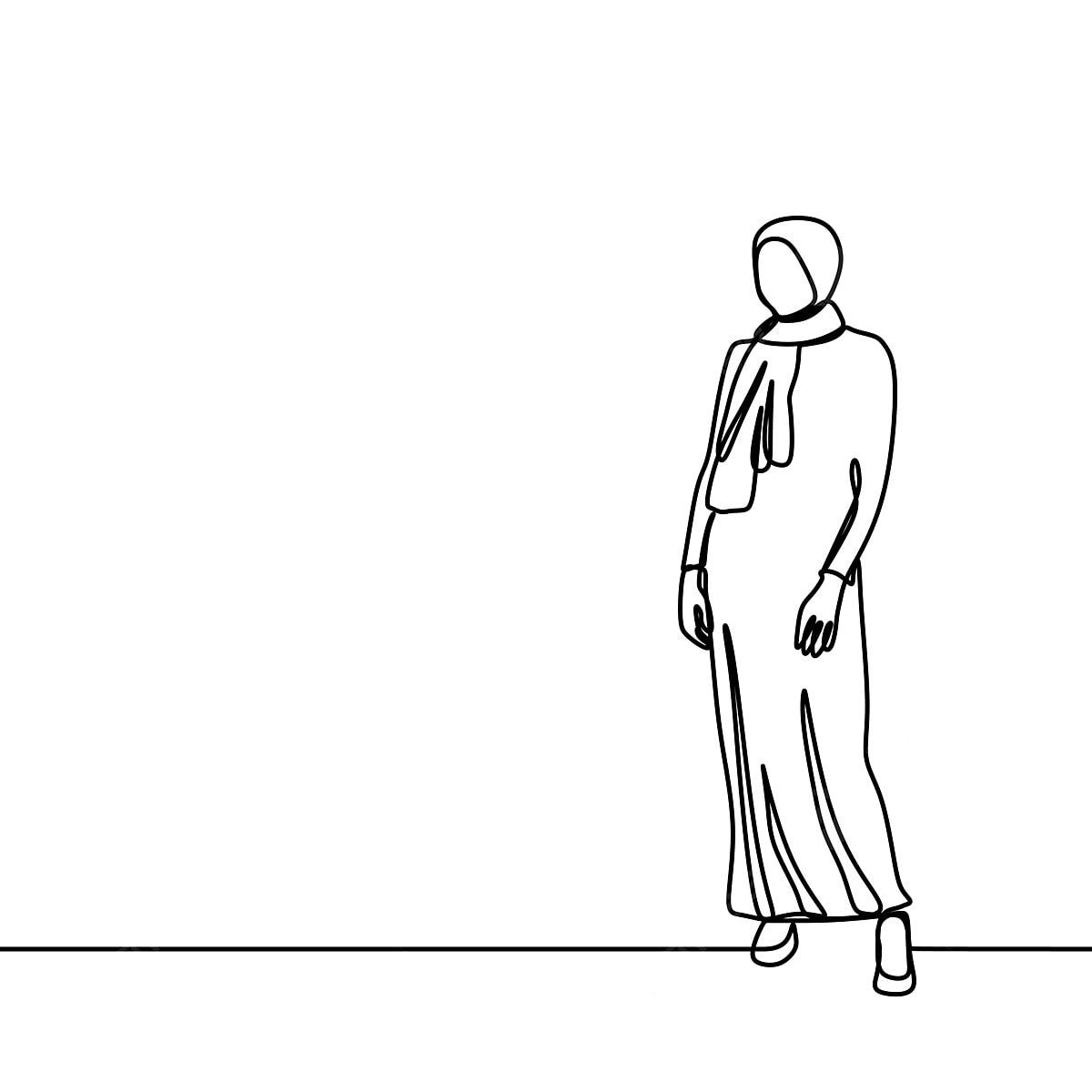 Gadis Jilbab Trendi Mengenakan Mode Modern Dengan Satu Garis Seni Menggambar Vektor Ilustrasi Kontinu Desain Minimalis Terisolasi Pada Ilustrasi Vektor Latar Belakang Putih Islam Asia Cantik Png Dan Vektor Dengan Latar Belakang