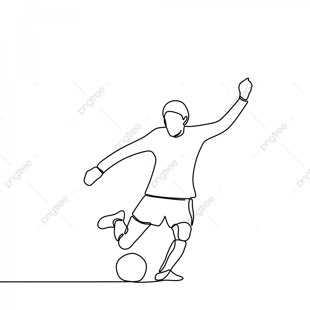 Trendy Person Kick A Ball Football Player Continuous Line Drawing Kick Defense Foot Png And Vector With Transparent Background For Free Download
